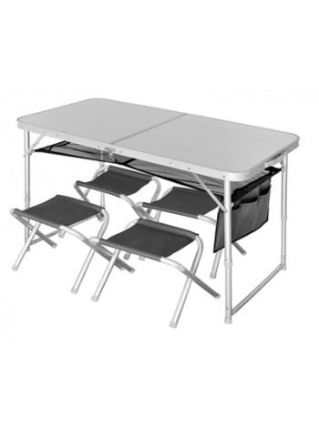 Стол складной Norfin RUNN NF Alu 120x60 + 4 стула